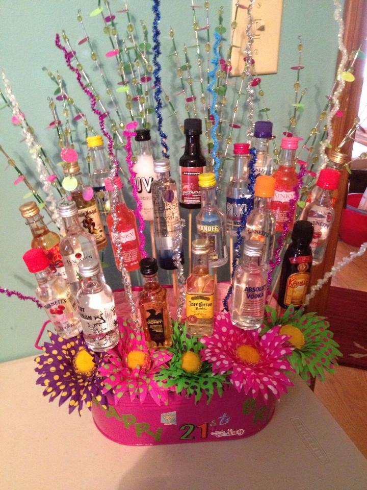 Cute Idea! 21st birthday alcohol basket. My sister in law made this.