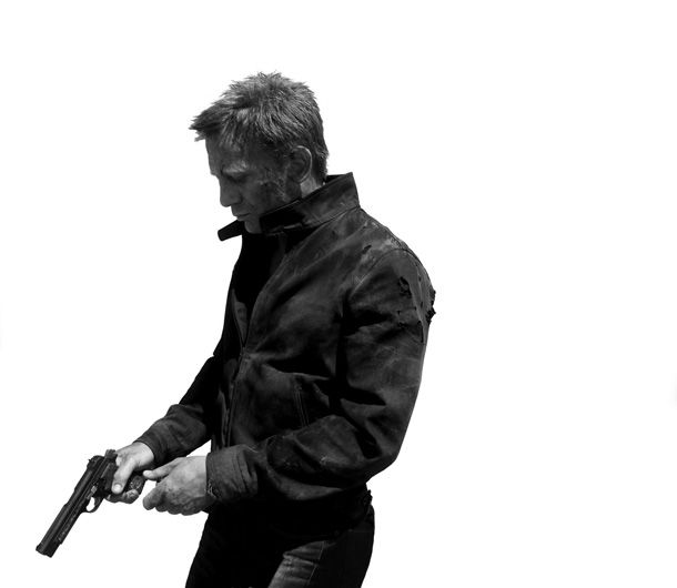 007/James Bond, portrayed by Daniel Craig.  This image perfectly captures the difference between his incarnation of Bond and the other Bonds.