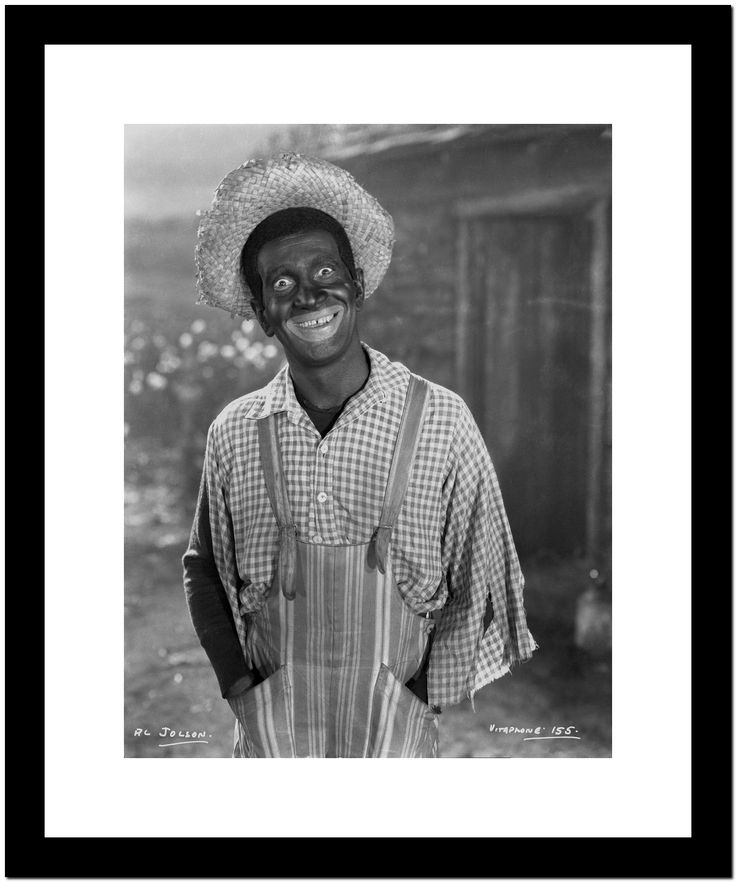 Al Jolson Giving a Funny Face wearing a Farmers Outfit in a Classic Portrait Premium Art Print