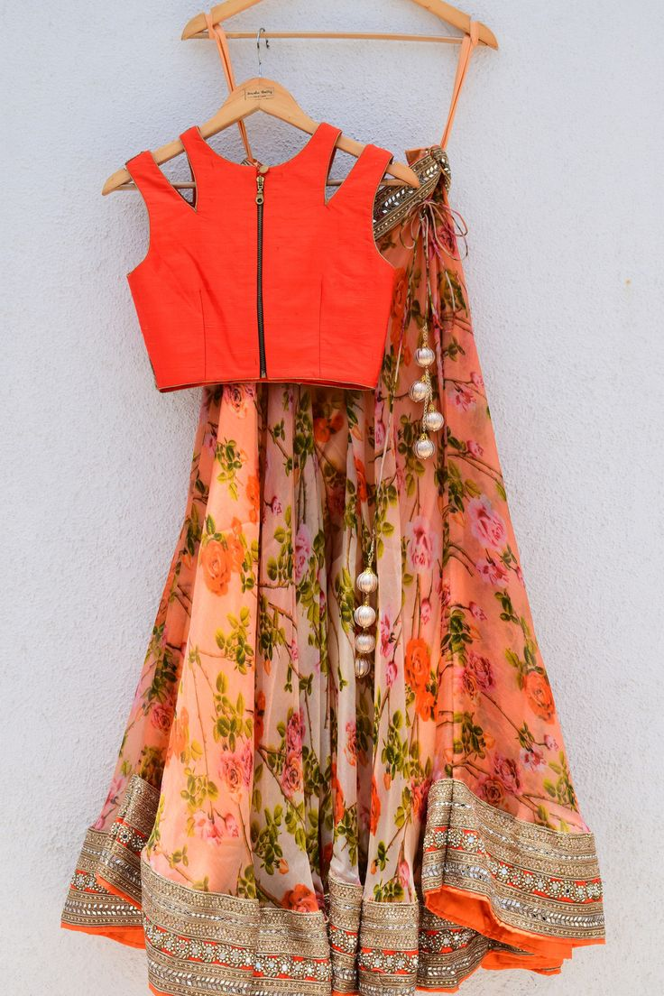 Orange Floral Print #Lehenga With Neon Orange Cutout #Blouse.