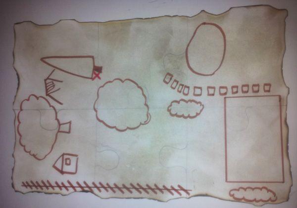 Carte au trésor pour chasse au trésor pirates   http://www.monblogdemaman.com/2011/10/03/anniversaire-pirate.html