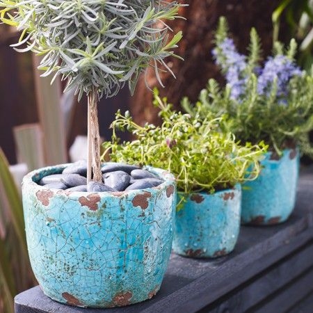 Set of 3 Turquoise Plant Pots - View All Home Decoration - Home Decoration - Home Accessories