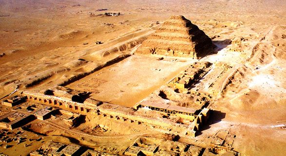 Just south of Giza, the step pyramid at Saqqara is believed to have been the first stone pyramid built in Egypt.