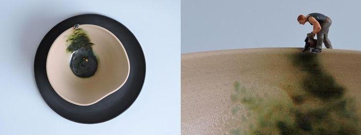 porcelain plate, stoneware bowl