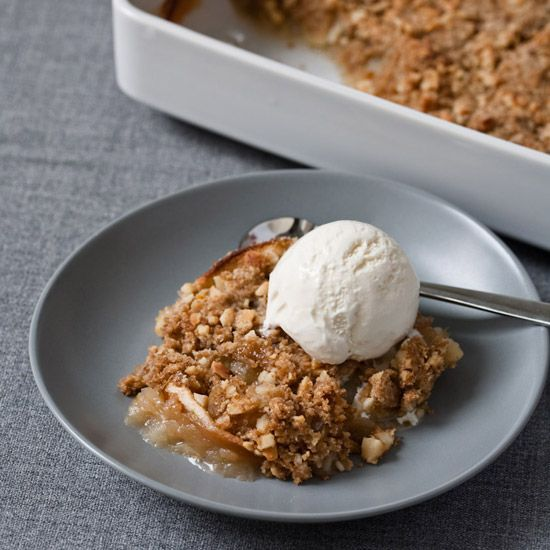 Apple Crisp with Sweet Ginger and Macadamia Nuts