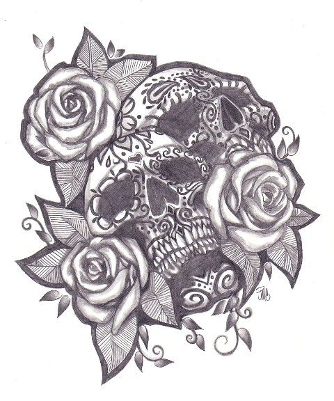 day of the dead skulls | Day Of The Dead Sugar Skull Girl Tattoo