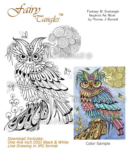 Firefly Friends Fairy Tangles Digi Stamp Zentangle Owl DIGI Stamps by Norma J Burnell