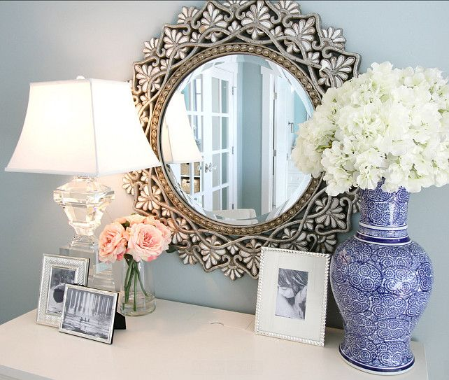 Vignette Ideas. Beautiful Home Decor and Vignette Ideas. Mirror is from Pier One Imports. #Vignette #HomeDecor. Nagwa Seif Interior Design