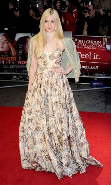Look of the Day: A Regal Darling. Elle Fanning looking like a princess hailing from a faraway dreamland, stunning the crowd with her breathtaking Rochas Resort 2013 ball gown at the  red carpet premiere of Ginger & Rossa in London. #stylestars