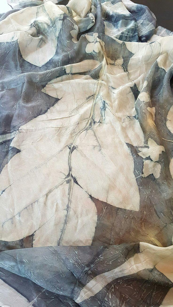 Big leaves, Big scarf. Acacia fistula flowers and leaves on big wrap silk scarf