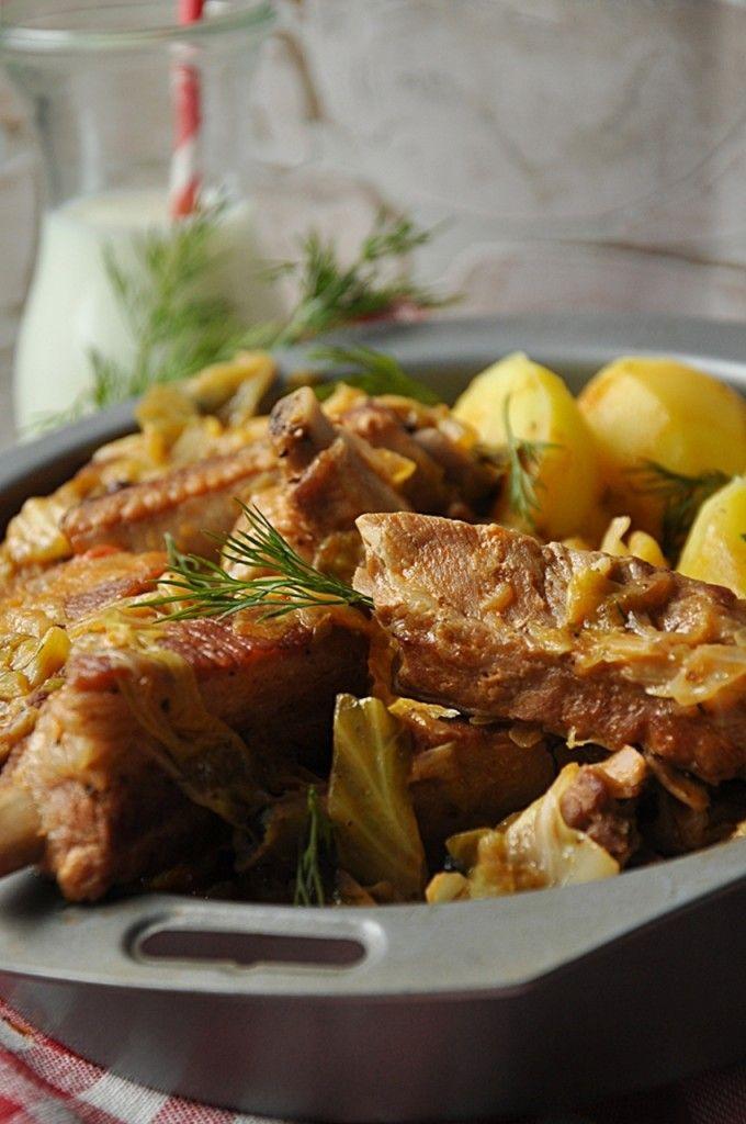 Żeberka z młodą kapustą  #obiad #zeberka #kapusta