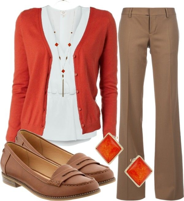Love this combination of colors. Fall is right around the corner. Substitute a pink sparkly sweater and earrings for Spring.