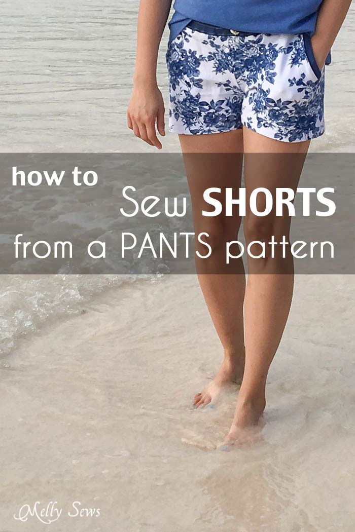How to Sew Shorts from Pants Pattern - where to cut, how to figure out inseams, etc - a tutorial by Melly Sews