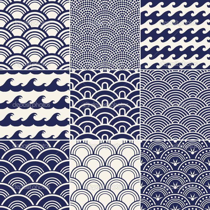 point de vagues de l'océan sans couture japonaise — Illustration #18880359