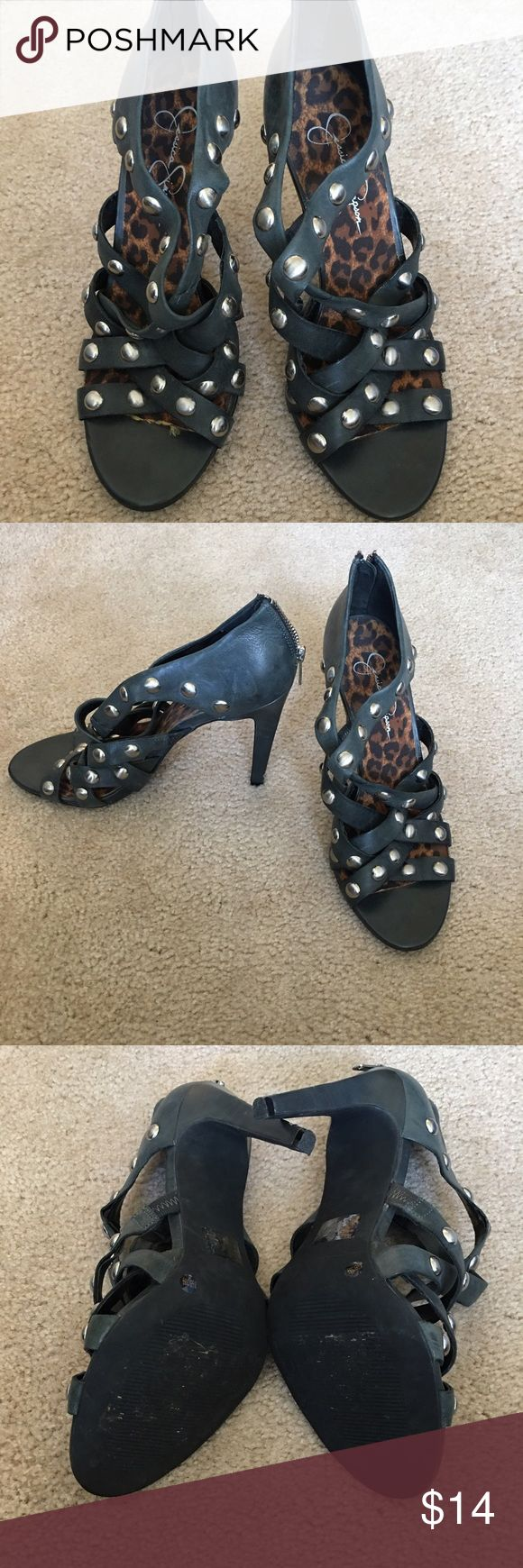 """Jessica Simpson heels Greenish-grey distressed 3.5"""" heels with metal beads. The straps are starting to separate due to the aging of the material from being in my closet - not do to heavy wear. Flaws are not noticeable when wearing. Price is reflective of condition, but still super cute heel worn only a few times. Jessica Simpson Shoes Heels"""