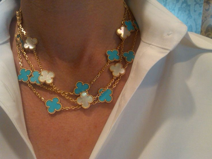 van cleef and arpels turquoise alhambra necklace - Google Search