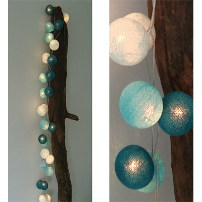 Lichtslinger Aqua 35 bollen - Cotton Ball Lights