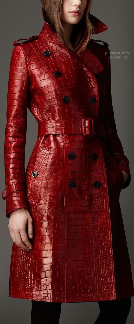 Long Alligator Leather Trench Coat | Burberry