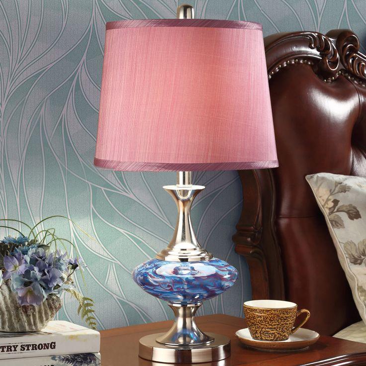 Туда 2017 Американский Стиль сад ткань стекла настольная лампа для спальни современный минималистский Мрамор Декоративный Настольный светильник купить на AliExpress