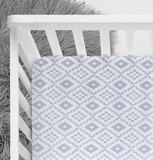 Grey Southwestern Crib Sheet, tribal nursery, baby bedding, gender neutral, blue nursery