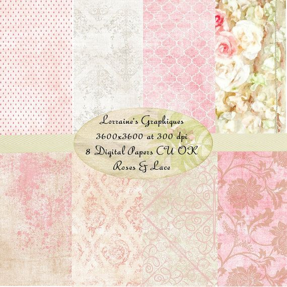 Roses and Lace:  A Shabby Chic Rose Watercolor Inspired Digital Paper Set