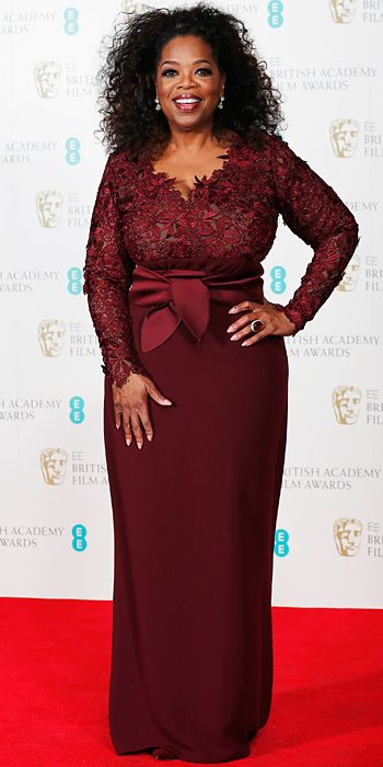 2014 BAFTAs Red Carpet - Oprah Winfrey - I think this is actually a pretty good choice for Oprah. Perhaps some more sweep to the bottom of the skirt and larger scale earrings would have enhanced the look, which is slightly conservative for her. Less black around the eyes and more lips would be a younger looking face for her, I think.