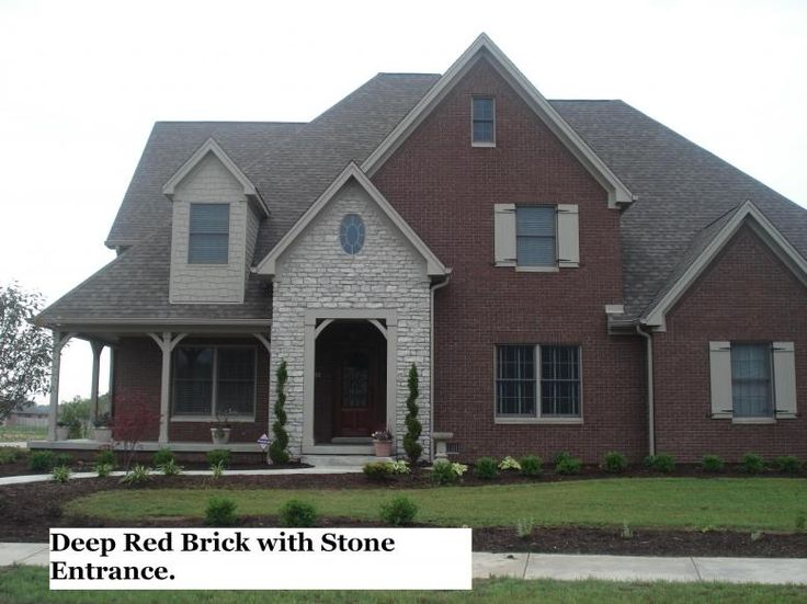 Red Brick Home Stones Brick With Stone Accent