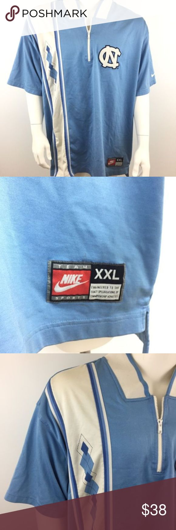Nike North Carolina Tarheels Polo Pullover Nike Team Sports Mens Pullover  Size XXL  University of North Carolina Tar Heels 1/2 Zip MC7 Sligh yellowing on the inside of the collar Nike Shirts Polos