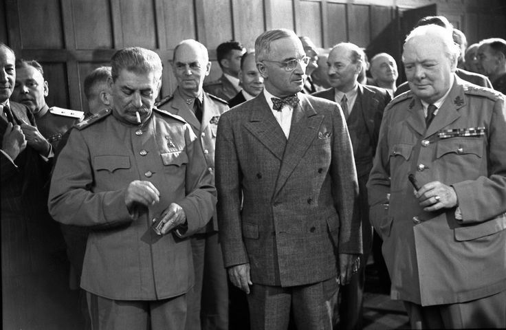 Joseph Stalin, Harry Truman and Winston Churchill at the Potsdam Conference, 1945