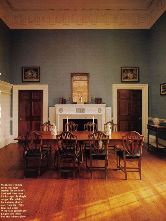 Monticello, Thomas Jefferson dining room. Simple, spare, elegant. Jon Meacham author, photo by Jonny Valiant for House Beautiful http://www.housebeautiful.com/: