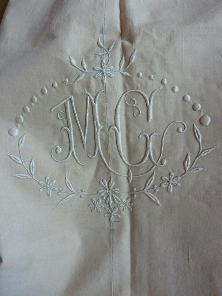 "Antique French pure linen UNUSED monogrammed sheet, 86"" wide, MC monogram | eBay"