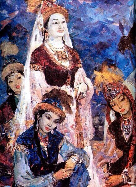 "Well known Kazakh painter Gulfairus Ismailova. ""The portrait of Kulyash Baiseitova in the role of Kyz Zhibek"", 1962"