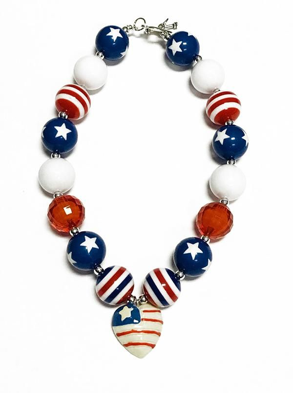 RED, WHITE, & BLUE BUBBLE NECKLACE WITH HEART PENDANT