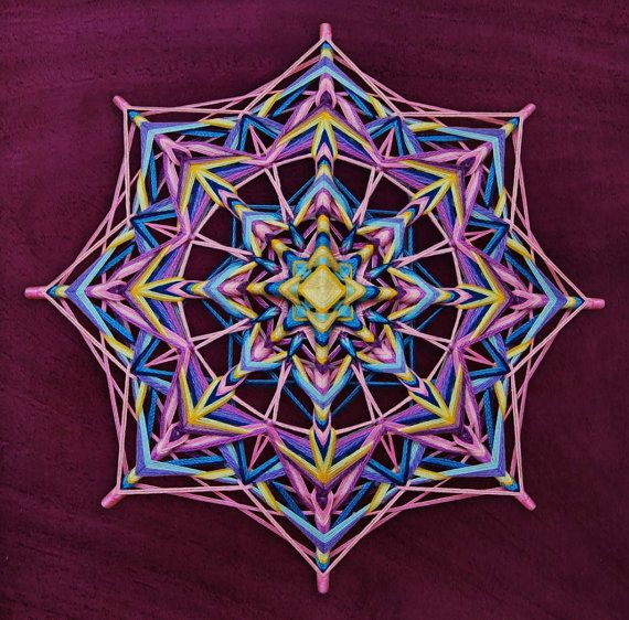 Fantasy, yarn mandala ~ Ojo de Dios, 20 inches (50 cm), 8-sided, wall hanging