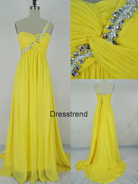 Long One shoulder Yellow Prom Dress Yellow Prom Prom Dress