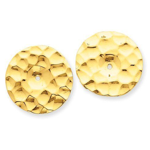 14k Yellow Gold Polished Hammered Disc Earring Jackets. Jewelry Pot. $109.99. Your item will be shipped the same or next weekday!. Fabulous Promotions and Discounts!. 100% Satisfaction Guarantee. Questions? Call 866-923-4446. 30 Day Money Back Guarantee. All Genuine Diamonds, Gemstones, Materials, and Precious Metals. Save 61% Off!