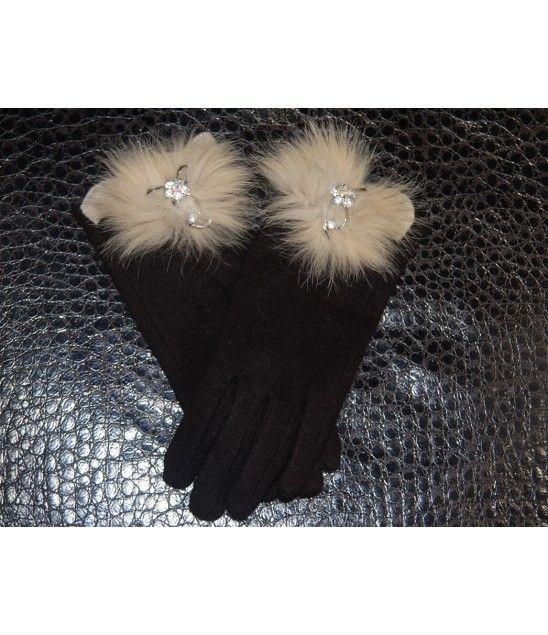 Χειροποίητα καφέ γάντια με μεταλλικό φιόγκο, στρας και γούνα.