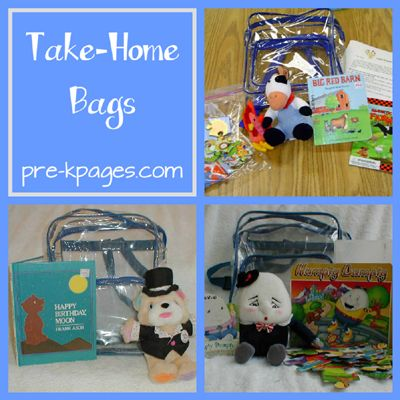 Buddy Bag system - teacher fills up a child-sized clear bookbag with a book and the rest of the bag is themed according to book - very cute and easy way to get parents involved in literacy! There are also lots of ways to do cross-curricular ideas here!!