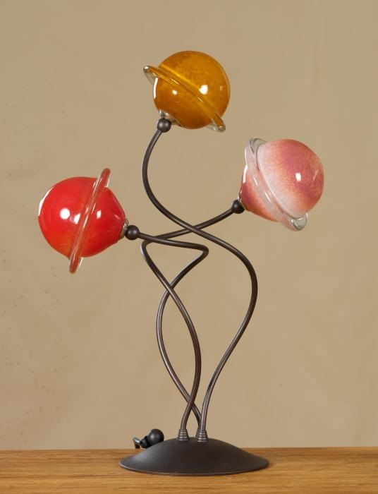 Saturn Series. Wrought Iron with Blown Saturn Glass.