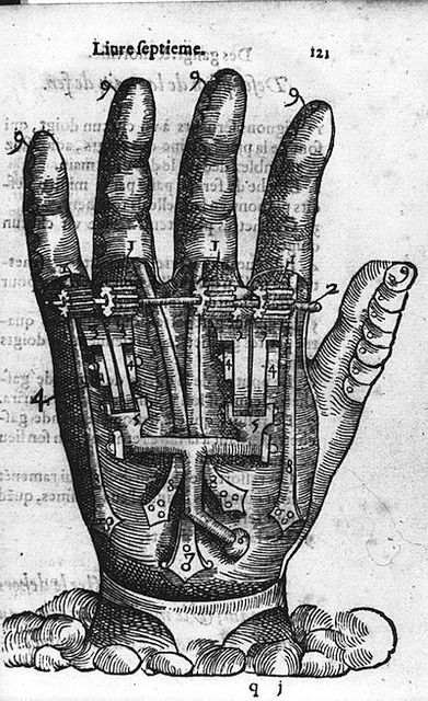 16TH CENTURY PROSTHETICS (1564)  artificial  hand - contrast copy by Public Domain Review, via Flickr