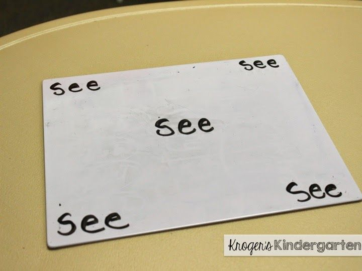 """I give them a word and they write it in the middle of their white board. """"Ready, set, go"""" and we all race to write the word in all 4 corners of the board."""
