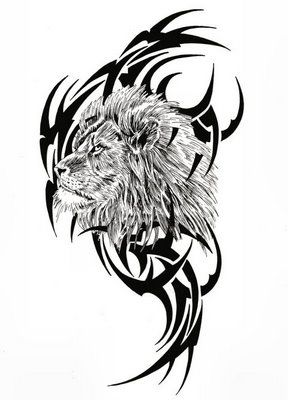 tattoo turok: Tribal Lion Tattoo Design Picture