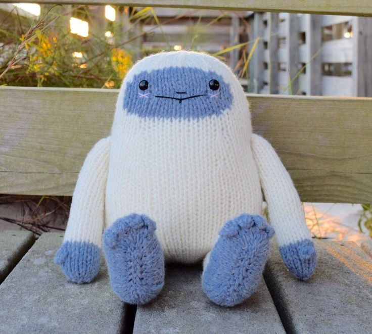 Stuffed Monster, Stuffed Yeti, Yeti Toy, Snow Monster, Knit Toy, Monster Doll…
