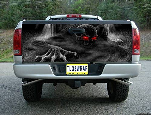 T23 SKELETON SKULL GRAVEYARD TAILGATE WRAP Vinyl Graphic Decal Sticker F150 F250 F350 Ram Silverado Sierra Tundra Ranger Frontier Titan Tacoma 1500 2500 3500 Bed Cover tint image