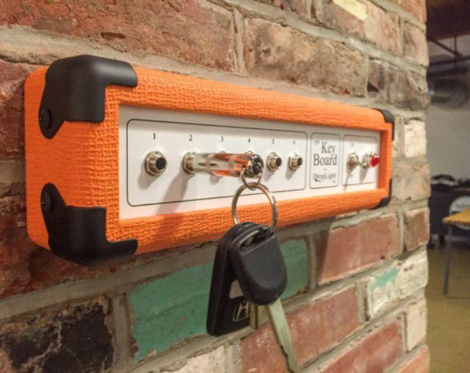 Parete chiave Rack, parete portachiavi, portachiavi di amplificatore chitarra, The Key Board - Orange