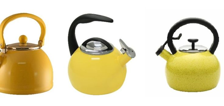 Awesome yellow whistling tea kettles for the kitchen.