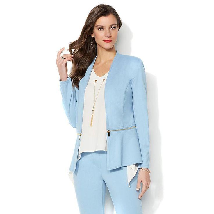 IMAN Global Chic Slip Into Slim Perfect Ponte Convertible Blazer - Warm Taupe