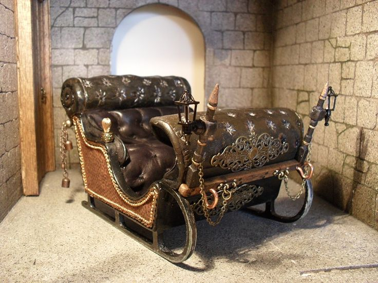 incredibly crafted 1:12th scale miniature Russian sleigh