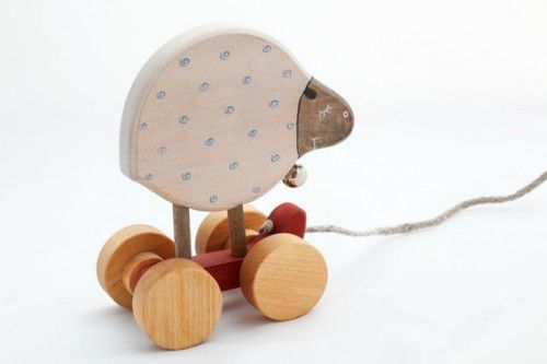 Personalized Wooden Pull Along Toy a Sheep, natural kids toy
