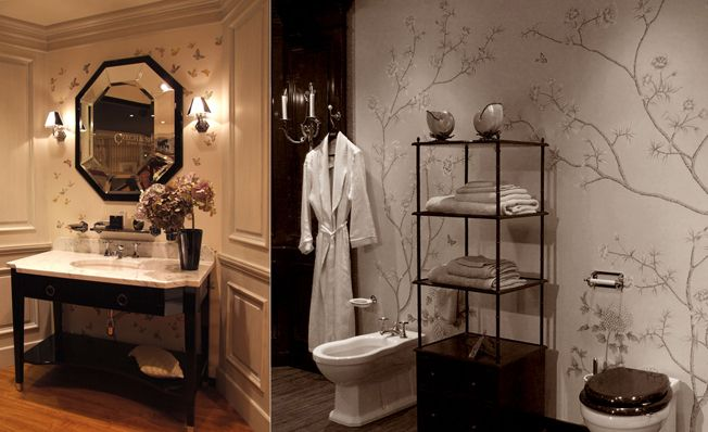 Bathroom wall in Misha's modern chinoiserie, Butterflies, Royal Flower wallpaper design on Ivory,Pink dyed silk.